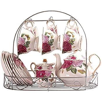 ufengke European Bone China Printed Ceramic Porcelain Tea Cup Set With Lid And Saucer
