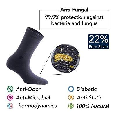 22% Pure Silver Diabetic Socks - Anti-Odor, Antibacterial, Anti-fungal Crew Dress Socks by Bonny Silver at  Women's Clothing store