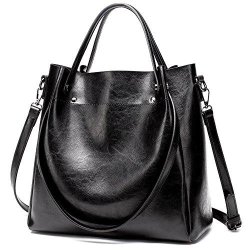 Mn&Sue 3-Way Large Bucket Shoulder Tote Bag Women Top Handle Satchel PU Leather Hobo Handbags (Tote Black Fabric Handbags)