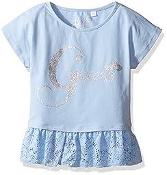 GUESS Little Girls\' Short Sleeve Peplum Shirt, Frosted Blue, 6