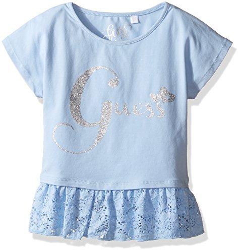 GUESS Little Girls' Short Sleeve Peplum Shirt, Frosted Blue, 6 -