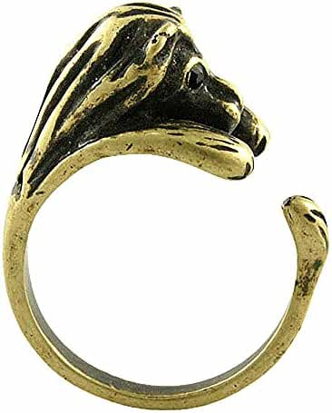 Enhanced Lion Adjustable Animal Wrap Ring Vintage Gold Tone