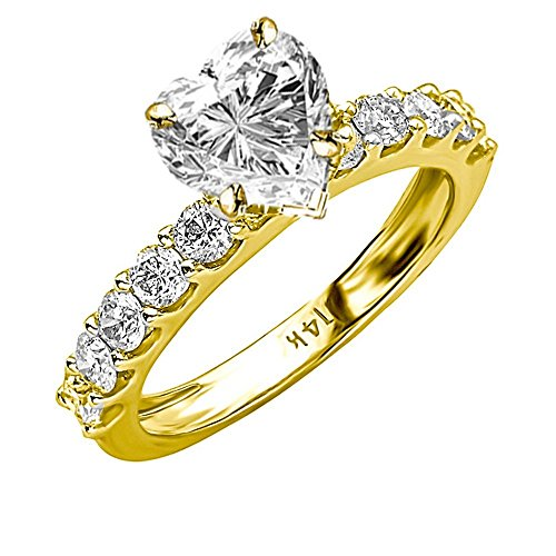 1.46 Ctw 14K Yellow Gold Classic Side Stone Prong Set Heart Shape Diamond Engagement Ring (0.46 Ct H Color SI1 Clarity Center Stone) ()