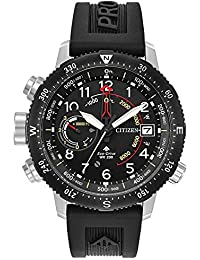 Mens Citizen Eco-Drive Promaster Altichron Black Polyurethane Strap and Black Dial Watch BN5058-