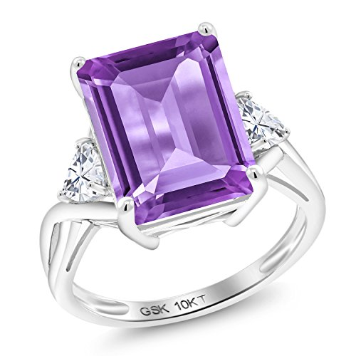 - Gem Stone King 10K White Gold Solitaire w- Accent Stones Ring Emerald Cut Purple Amethyst and Timeless Brilliant Created Moissanite (IJK) 0.46ct (DEW) (Size 6)