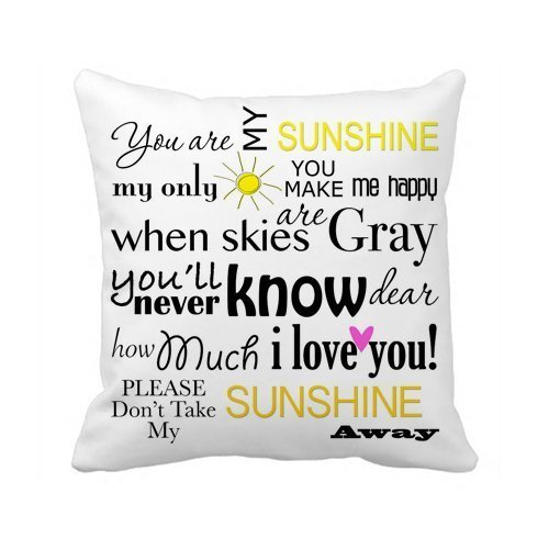 Cute Halloween Quotes Sayings Kids (Decorbox You Are My Sunshine Quote Pattern 18x18 Inch Polyester Cotton Square Throw Pillow Case Decorative Durable Cushion Slipcover Home Decor Standard Size Accent Pillowcase Encasement Slip Cover)