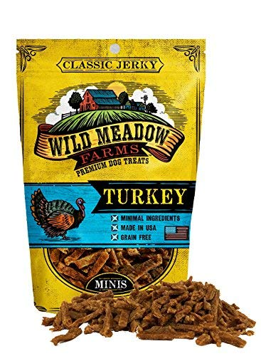 Wild Meadow Farms - Classic Turkey Minis - USA Made Soft Jerky Training Treats for Dogs, 4 oz ()