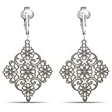 Lovely Victorian Filigree Clip On Earrings for Women & Girls Clip-ons, Lightweight Teardrop Leaf Dangle (White Drop)