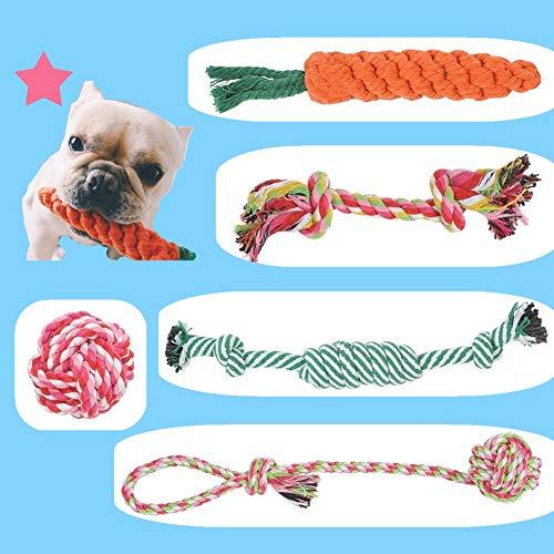 BUYGOO 5PCS Hundespielzeug Seil Kauspielzeug – Hunde Spielzeug Seil Interaktive Gesundheit Zähne Reinigung, Baumwolle…