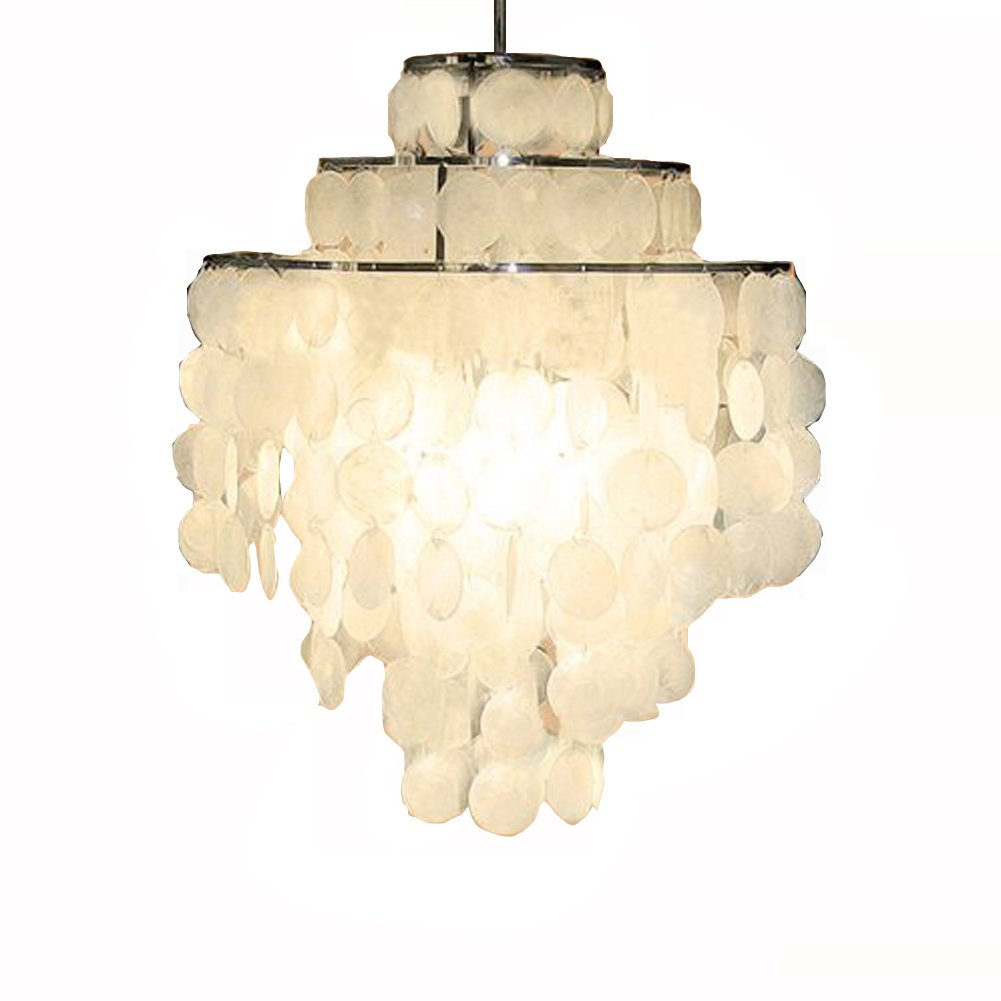 Aero Snail 3-Light Round Chandelier with Round Capiz Seashells Natural White DIY Pendant Light for Living Room Bedroom …