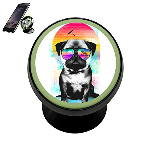 Summer Pug Car Magnetic Phone Holder Collapsible Grip Mobile Bracket Car Mount Holder Fits 360 Rotation for iPhone Galaxy and other Universal Smartphones ()