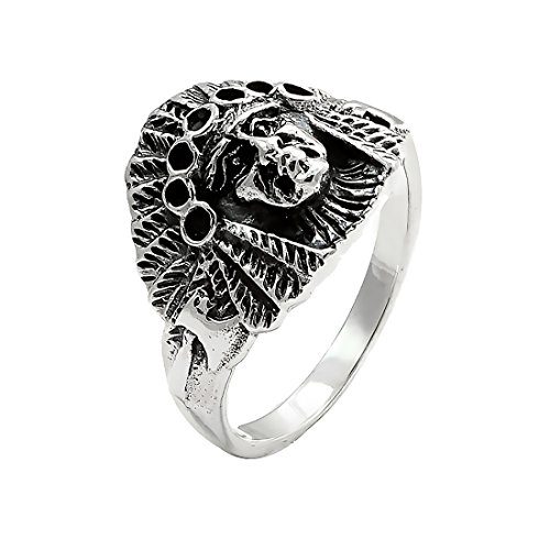 Indian Solid Ring - Blue Apple Co. Native Indian Head Ring Oxidized Chief Warrior Head Ring Solid 925 Sterling Silver Silver Indian Ring