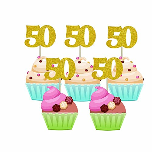 Homy Feel 48 Pieces 50 Number Gold Glitter Birthday Cupcake Toppers,50th Cupcake Picks Mini Cake Decorations for Birthday Party Supplies