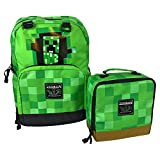 JINX Minecraft Creepy Creeper Backpack & Creeper Block Lunch Bag Set