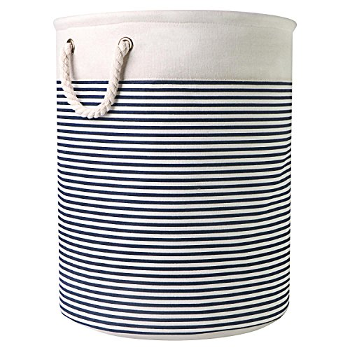 Striped Storage Basket, Laundry Blanket Basket with Handles, Cotton Collapsible Nursery Bin, Home Organizer, Toy Storage Box Container for Towel Clothes by Domoos
