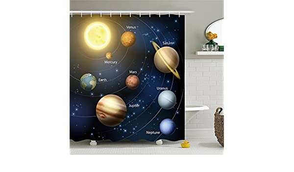 Sience Space Cortina de ducha de poliéster, impermeable, 69 x 84 ...
