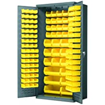 """Akro-Mils AC3624 Y Steel Storage Cabinet with Louvered Panels on Back Wall and Doors, includes 138 Yellow AkroBins, 36"""" W x 24"""" D x 78"""" H"""