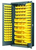Akro-Mils AC3624 Y Steel Storage Cabinet with Louvered Panels on Back Wall and Doors, includes 138 Yellow AkroBins, 36'' W x 24'' D x 78'' H