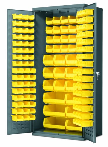 Akro-Mils AC3624 Y Steel Storage Cabinet with Louvered Panels on Back Wall and Doors, includes 138 Yellow AkroBins, 36'' W x 24'' D x 78'' H by Akro-Mils