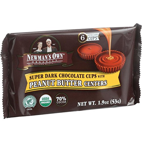 Newmans Own Organics Chocolate Cups - Organic Premium Super Dark Chocolate - Peanut Butter Centers - 1.9 oz - Case of 16