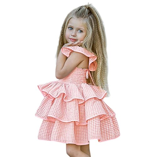Toddler Clothes, vermers Baby Girl Plaid Straps Outfits Sundress Ruffles Sleeveless Dress(24M, Pink) (Collar Portrait Cardigan)