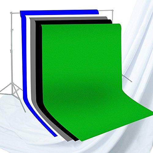 Julius Studio 6 x 9 ft. Photo Studio Chromakey Background Muslin Backdrop Bundle Kit, Black, White, Green, Gray, Premium Quality Fabric Material, Wrinkle Resistant, Photo Video Studio, JSAG227V2