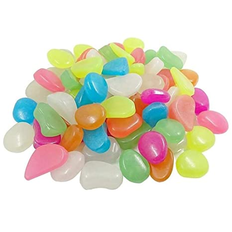 HomTop Piedra Luminosa, Glow in The Dark Pebbles, 200pcs Mezclado Color Resplandor Exterior Rocas