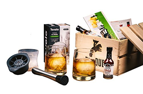 Old Fashioned Cocktail Kit Gift (7 Piece Drink Set) - Comes in a Wooden Gift Crate - Old-Fashioned Cocktail - Great Gift For Men (Gift Crates Boxes)