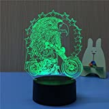Animal 3D Eagle and Motorcycle Night Light Touch Switch Decor Table Desk Optical Illusion Lamps 7 Color Changing Lights LED Table Lamp Xmas Home Love Brithday Children Kids Decor Toy Gift