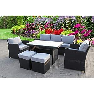 UK Leisure Black Rattan Corner Sofa with Grey Cushions