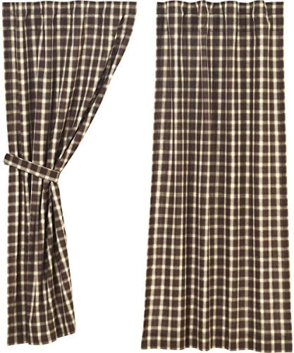 VHC Brands Rustic Lodge Farmhouse Window Rory Brown Short Curtain Panel Pair, Set 63×36