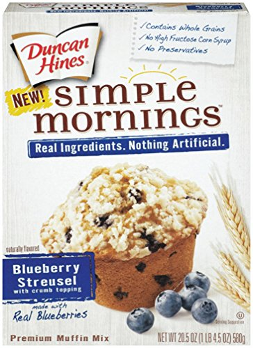 Duncan Hines Simple Mornings Muffin Mix, Blueberry Streusel, 20.5 Ounce (Pack of 4)
