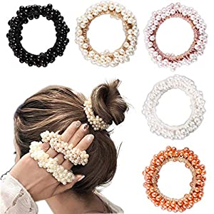 5 Pieces Pearl Elastics Hair Ties Ring Rope Scrunchie Hair Bands Ponytail Holder for Women or Girls Hair Accessories(5 Colors)