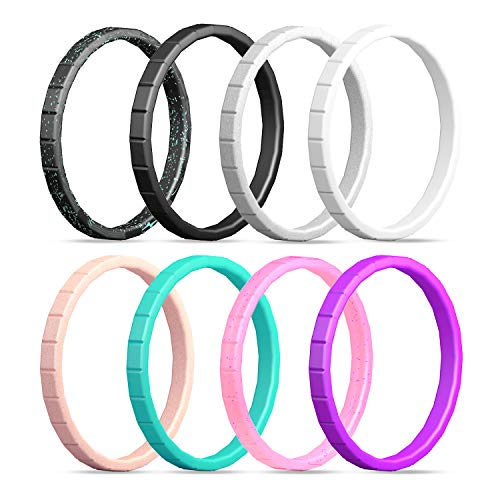 ing Ring for Women,Silicone Wedding Ring Thin-Silicone Stackable Rings, Wedding Bands-Stylish Pattern -Comfortable fit&Skin Safe ()