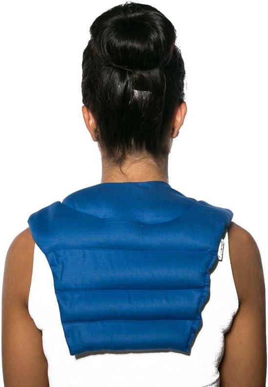 Cojín para el cuello con parte dorsale (algodón orgánico azúl oscuro) - Almohada térmica - Saco cervical térmico de semillas - Cojín caliente para la espalda - Semillas de colza
