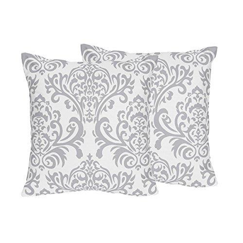 Sweet Jojo Designs 2-Piece Skylar Gray and White Damask Decorative Accent Throw Pillows