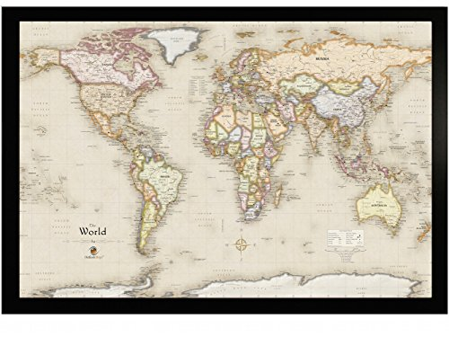 Homemagnetics HM3322WLDM Magnetic World Map, 33 X 22 (World Map Refrigerator)