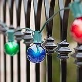 Wintergreen Lighting Patio String Lights, Green Wire, G50 Globe Lights, Outdoor String Lights, Patio Light Strings, Wedding Lights (50', Multicolor)