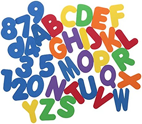 36 Piece 3 Inch High Foam Letters and Numbers in Mesh Bag Alphabet Floats Bath