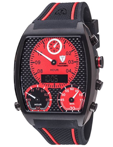 DETOMASO Men's 'VOLTURNO XXL Digital/Analogue   Trend mehrfarbig/schwarz' Quartz Stainless Steel and Silicone Casual Watch, Color:Black (Model: DT2057-B)