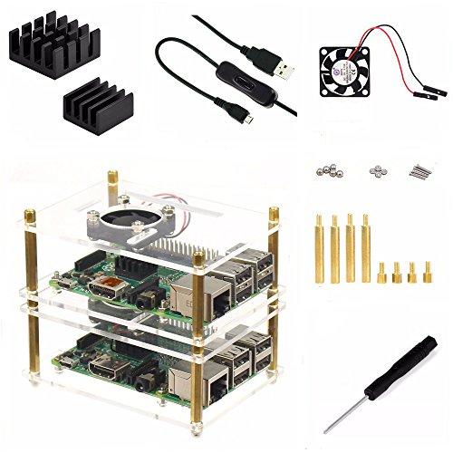 Wangdd22 2-Layer Acrylic Clear Case Enclosure with Cool Fan,ON/OFF Cable,Heatsink,Screwdriver for Raspberry Pi 3 / 2 B B+ Pi B+ B