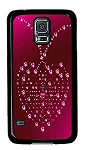 Samsung Galaxy S5 Valentines Day Crystal Heart Shaped Necklace PC Custom Samsung Galaxy S5 Case Cover Black