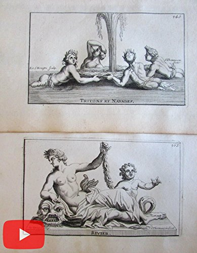 Fountains River Gods Water 1694 Versailles statues lot x 12 engraved prints