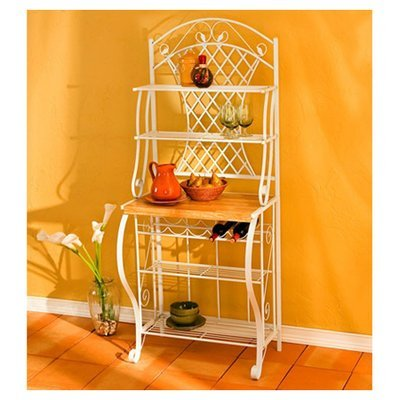 Sturdy Classic Cottage Baker's Rack, Up to 5 Wine Bottles Rack, 4 Metal Shelves, Durable Steel Construction, White Finish, Wood Countertop, Kitchen Storage Furniture