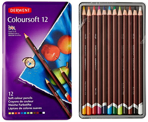 Derwent Colored Pencils, Colorsoft Pencils, Drawing, Art, Metal Tin, 12 Count (0701026)
