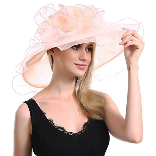 Women's Church Kentucky Derby Fascinator Bridal Hat Tea Party Sun Travel Wedding Organza Floral Cap