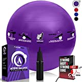 Epitomie Fitness Active Balance Fitness Ball with Imprinted Exercise and Training eBook (Purple/65 cm)