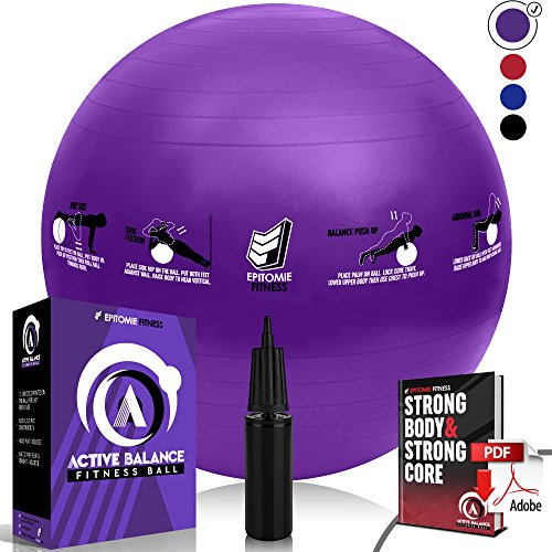 Epitomie Fitness Active Balance Fitness Ball with Imprinted Exercise and Training eBook (Purple/75 cm)