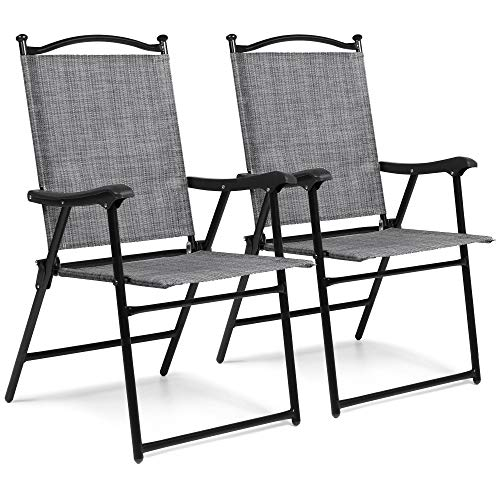 Best Choice Products Set of 2 Outdoor Mesh Fabric Folding Sling Back Chairs for Backyard, Picnics, Beach - Gray