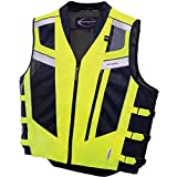 Olympia Blaze Hi-Viz Safety Men's Dual Sport Street Racing Motorcycle Vest - Neon Yellow/Black / X-Large/2X-Large